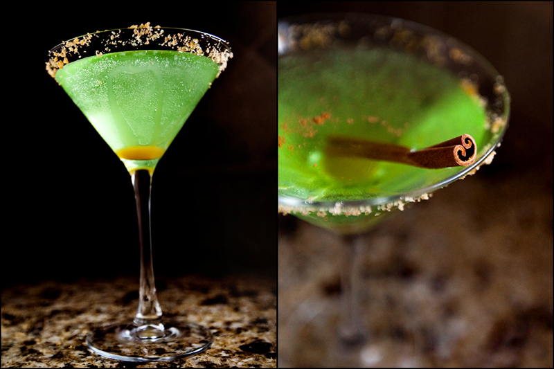 Caramel Apple Martini with brown sugar rim