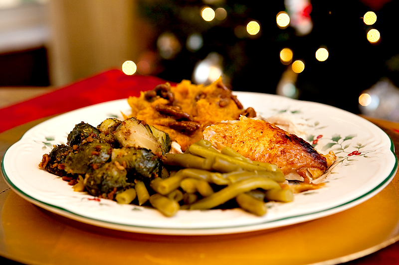 Our Christmas dinner of brussels sprouts, sweet potatoes, green beans, and chicken