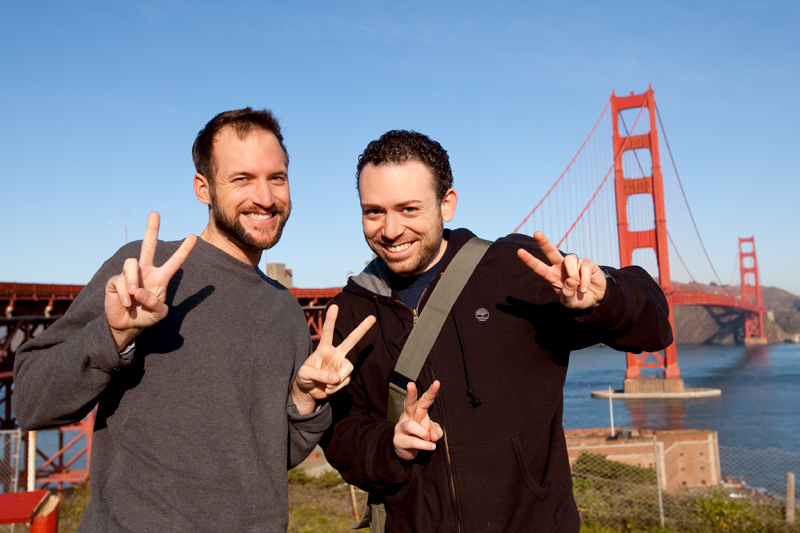 Matt Browne and Jason Mejia in front of the Golden Gate Bridge