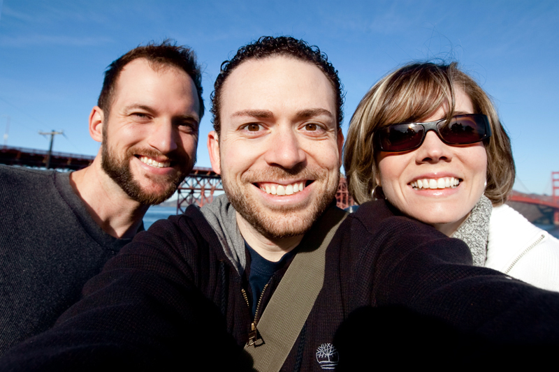Matt Browne, Erin Browne, and Jason Mejia in front of the Golden Gate Bridge