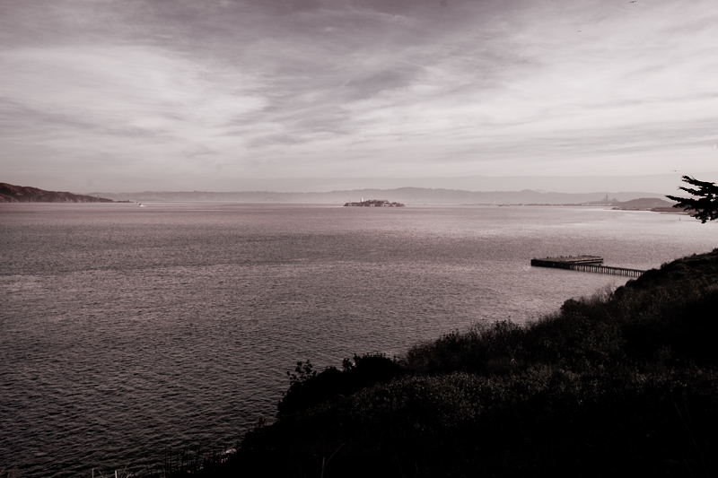 View of Alcatraz from the Golden Gate Bridge