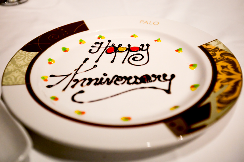 Special Happy Anniversary plate at Palo - Disney Dream