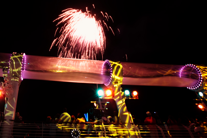 Pirates Fireworks Show on Pool Deck on the Disney Dream