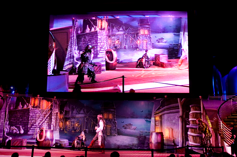 pirate deck show on a disney cruise
