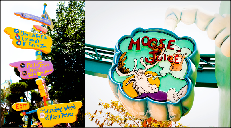 Crazy sign and Moose Juice - Seuss Landing in Islands of Adventure