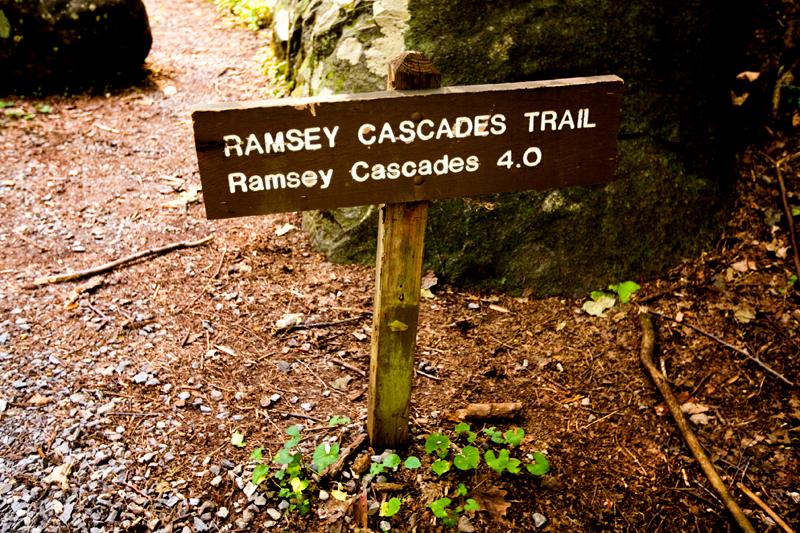 Ramsey Cascades trailhead sign