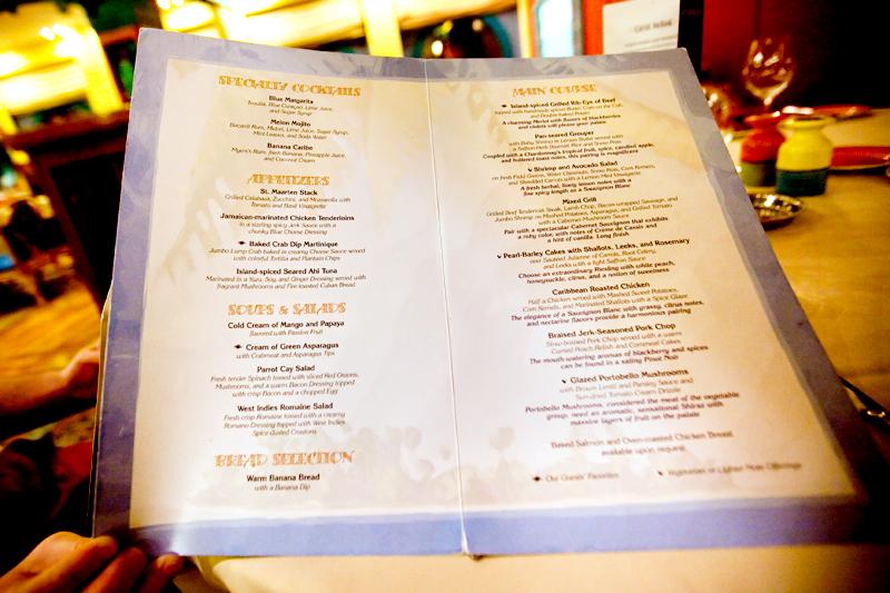 Dinner menu at Parrot Cay