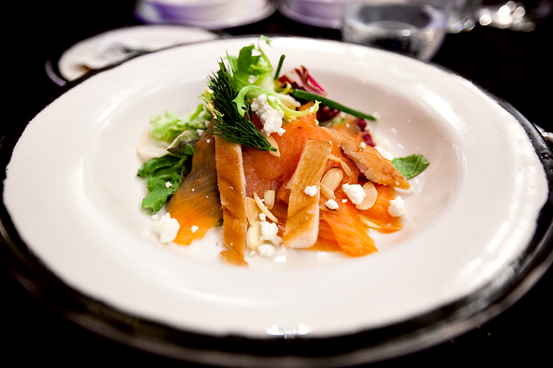 Smoked Salmon and Trout with Goat Cheese Salad at Animator's Palate