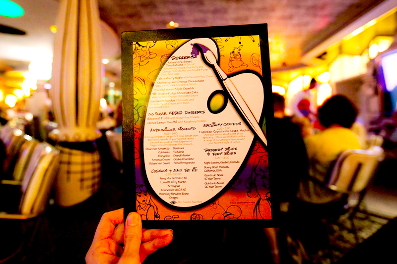 Dessert menu at Animator's Palate