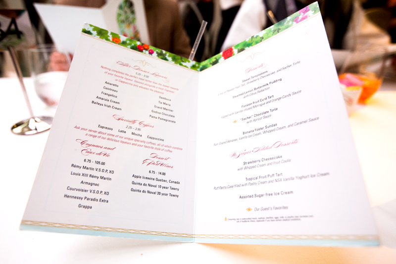 Enchanted Garden dinner menu