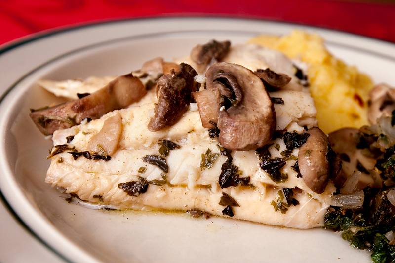 Recipe for Baked Haddock and Marinated Mushrooms