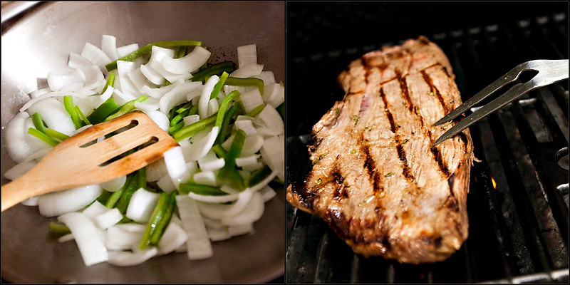 Beef fajitas with flank steak
