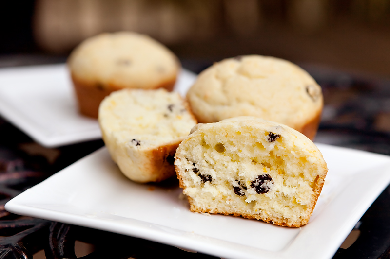 Muffins made with orange zest, currants, and sour cream.