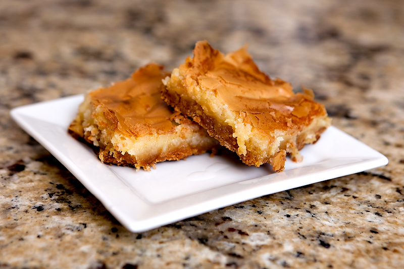 Chess Squares made with cream cheese and cake mix
