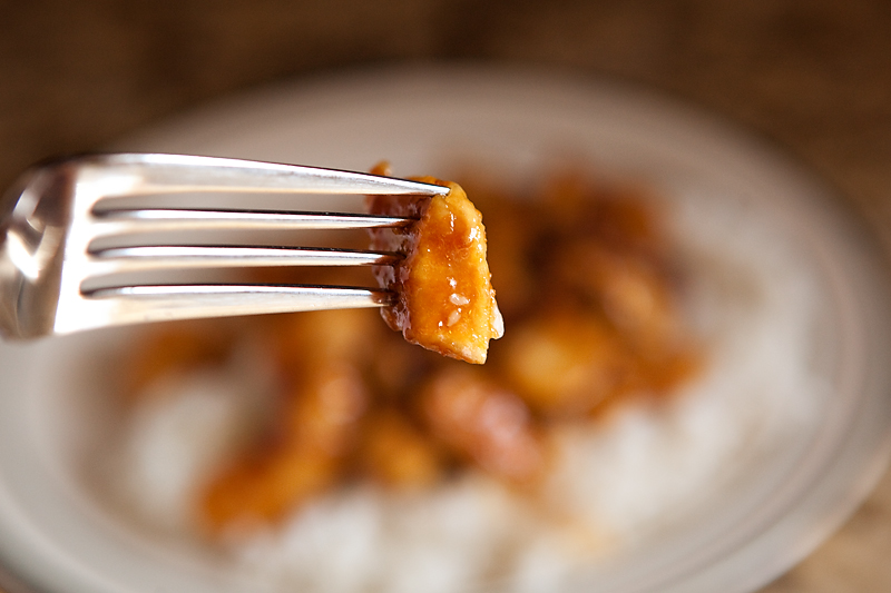 Chicken Teriyaki on fork