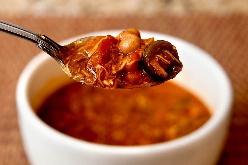 Barbecue Chicken Chili with BBQ and Garbanzo Beans