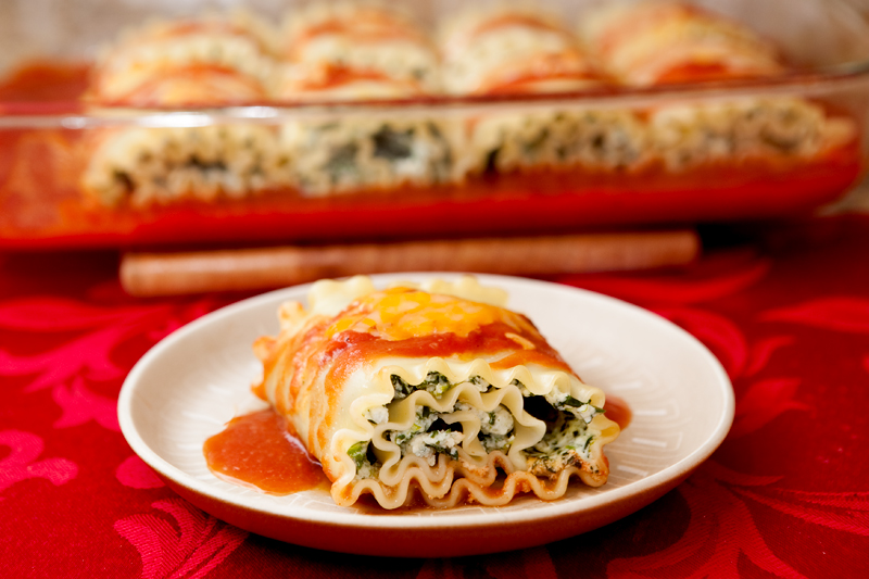 Light and Healthier Spinach Lasagna Roll-Ups