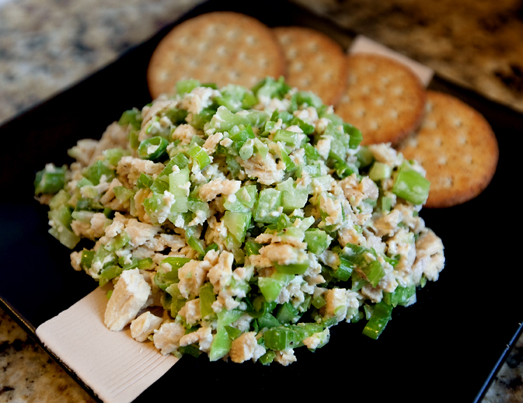Chicken salad with celery, green onion, and dill.