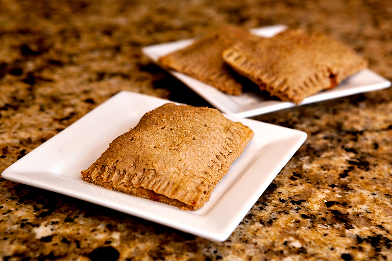 A healthier pop-tart. Apple cinnamon filling with an oat bran flour crust.