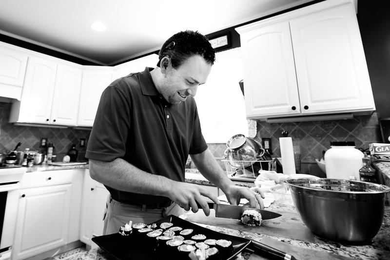Matt cutting sushi