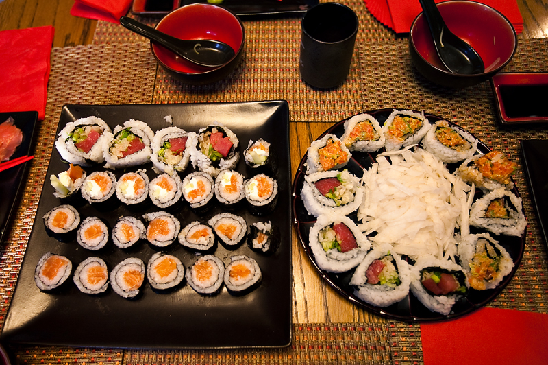 Homemade Sushi rolls displayed on table
