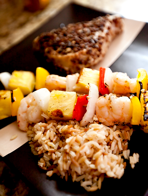 Shrimp Kabobs with pecan-crusted salmon