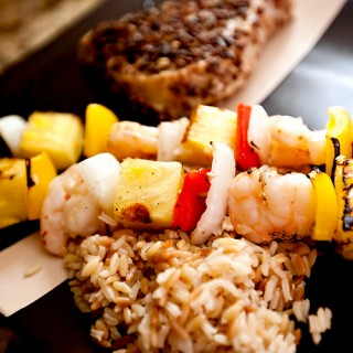 Pecan Crusted Tuna with Shrimp Pineapple Kebabs