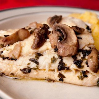 Baked Haddock & Marinated Mushrooms