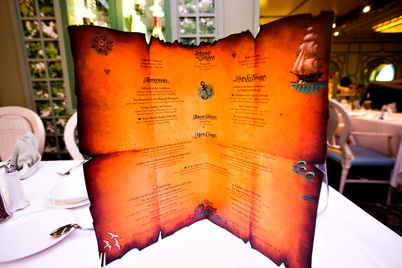 pirate night menu on a disney cruise