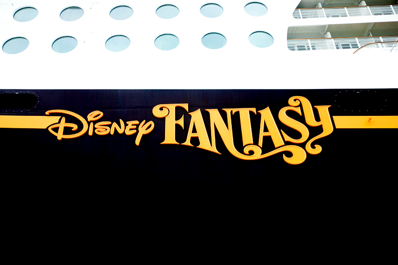 disney fantasy sign on the ship