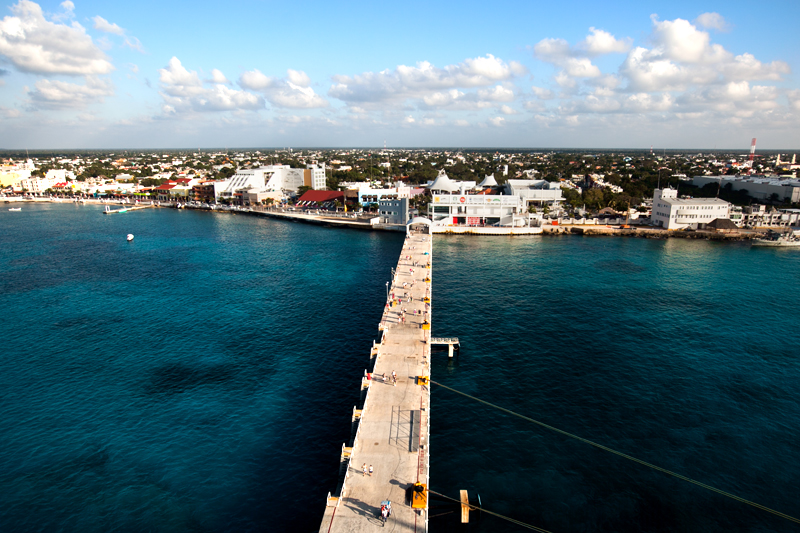overhead view of pier in cozumel