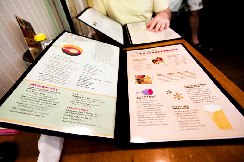 menu from tupelo honey cafe