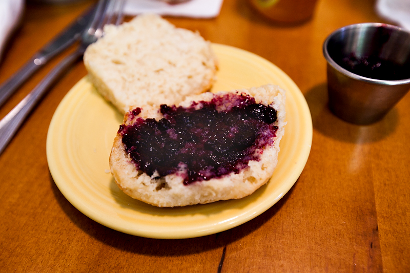 blueberry spread on a tupelo honey biscuit