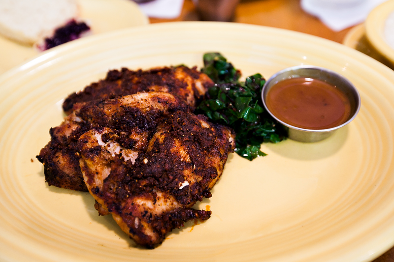 sassy garlic grilled chicken with peach bourbon sauce from tupelo honey cafe