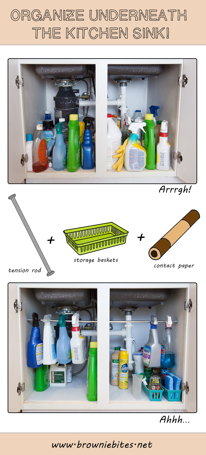Simple Tip for Organizing Under the Sink! | Brownie Bites Blog