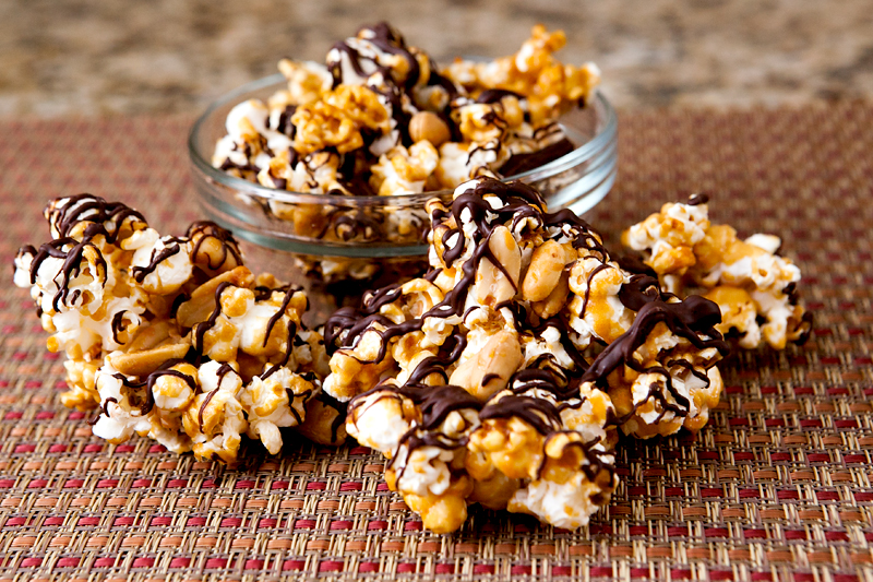 chocolate caramel popcorn with peanuts