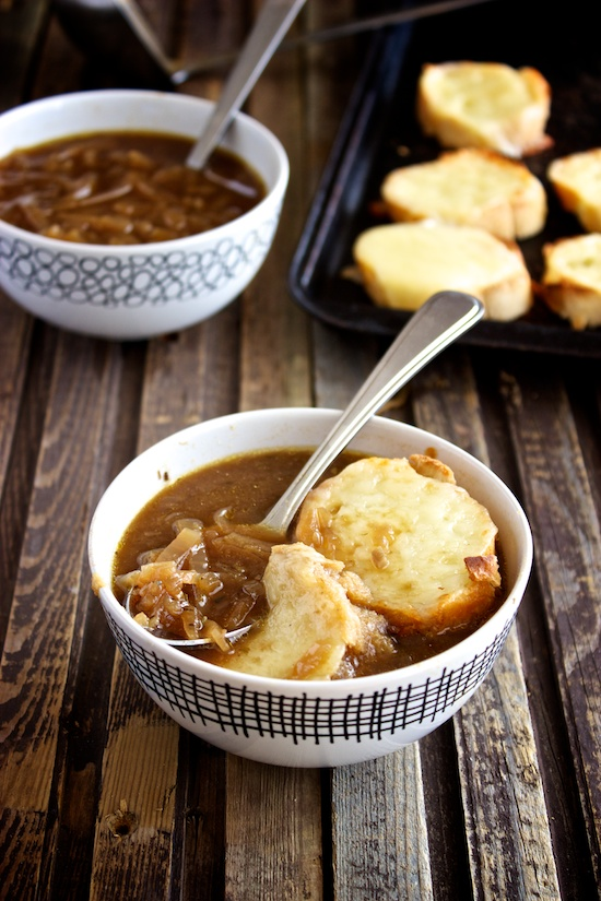 Slow Cooker French Onion Soup , served with toasted Gruyere baguettes ...