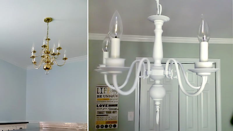 Update your home with spray paint brownie bites blog how to spray paint a chandelier 01 aloadofball Images