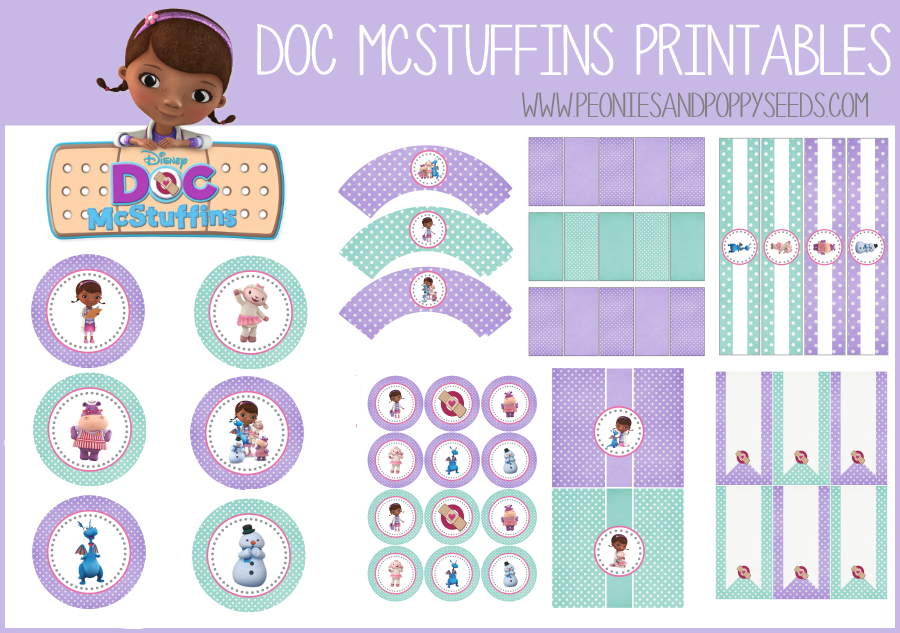 It is a photo of Crafty Doc Mcstuffins Party Printables