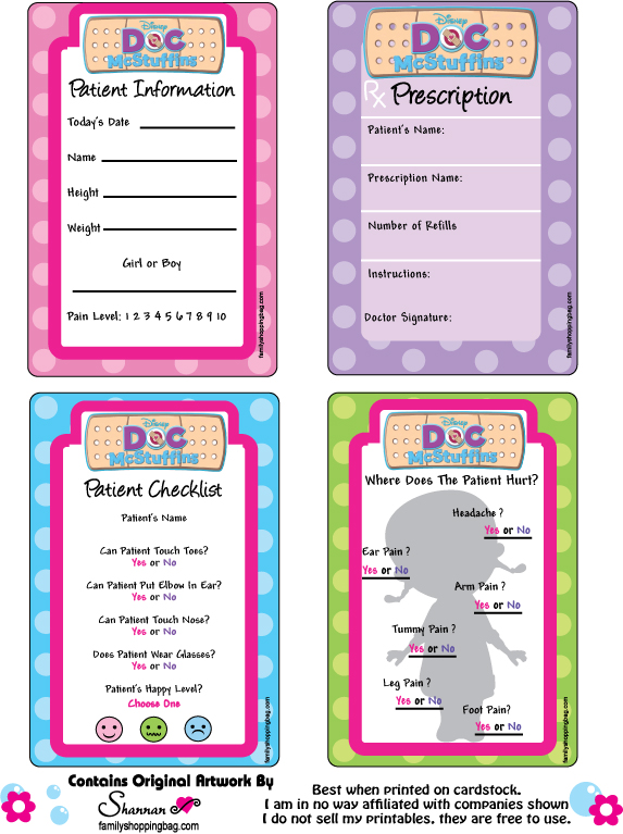 Doc Mcstuffins Printable Patient Cards