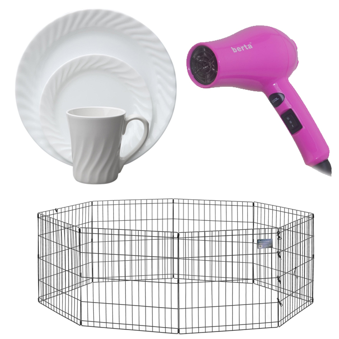 Corelle dishes, dog pen, and hair dryer