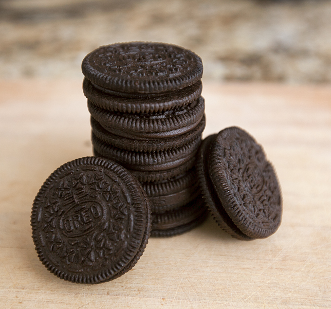 stack of brownie batter oreos