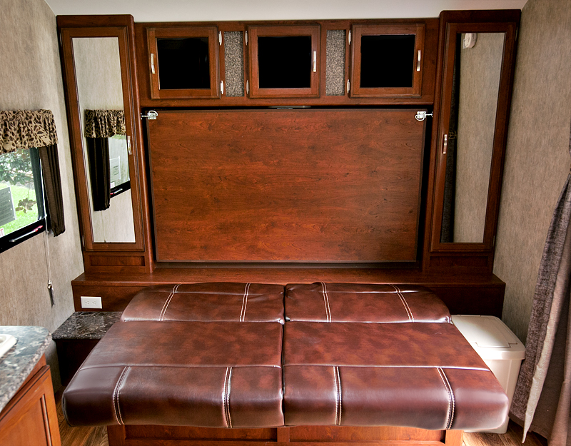 murphy bed in trailer with sofa extended