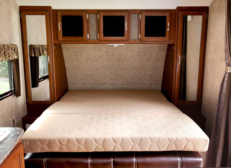 murphy bed in trailer in bed position