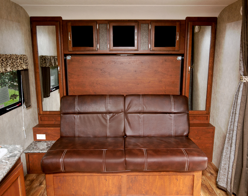 murphy bed in camper in sofa position