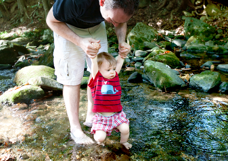 baby-wading-in-smoky-mountain-creek