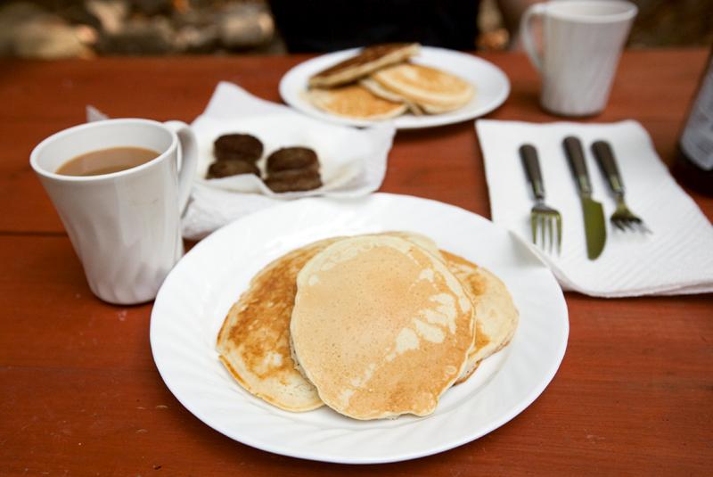 pancake-and-sausage-breakfast-while-camping