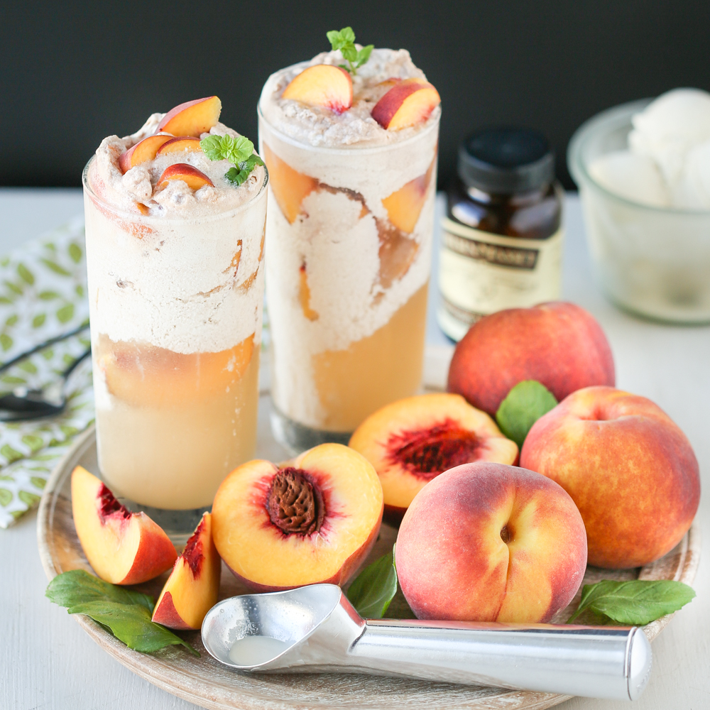 Peaches and cream tea float