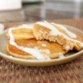 Pumpkin Pie Pancakes with Cream Cheese Drizzle