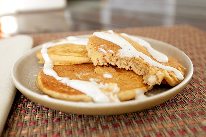 Pumpkin Pie Pancakes with Cream Cheese Drizzle + Giveaway